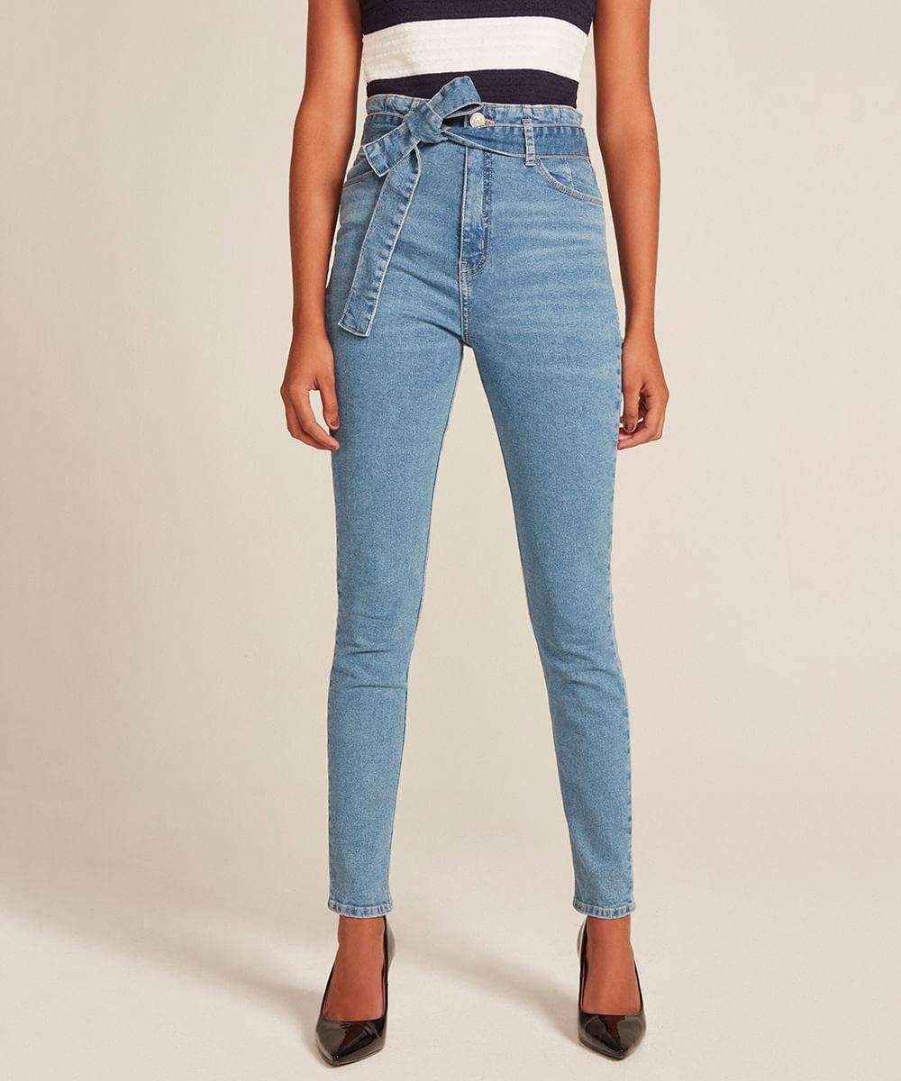 9af9d9478 Calça Jeans Feminina Clochard Cintura Alta Azul Médio - cea