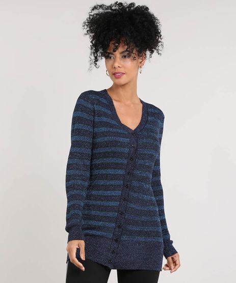 Cardigan-Feminino-Longo-Listrado-com-Lurex-Decote-V-Azul-Marinho-9359980-Azul_Marinho_1