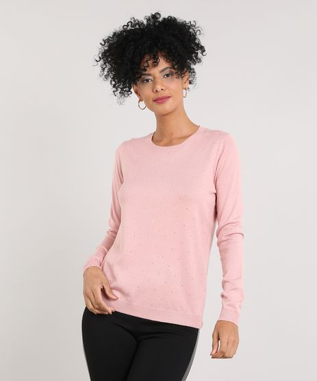 Sueter-Feminino-em-Trico-com-Strass-Rose-9425752-Rose_1