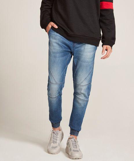 Calca-Jeans-Masculina-Jogger-com-Cordao-Azul-Medio-9529457-Azul_Medio_1