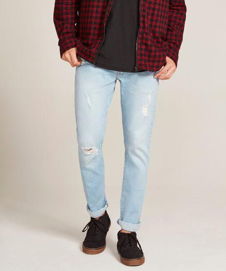 Calca-Jeans-Masculina-Slim-com-Rasgos-Azul-Claro-9524676-Azul_Claro_1