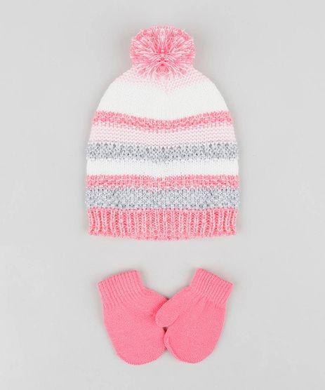 Kit-de-Gorro-Infantil-Listrado-com-Pompom---Luva-em-trico-Rosa-9361076-Rosa_1