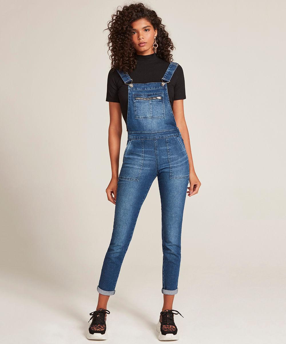 8d698744b Macacão Jeans Feminino Skinny com Bolsos Azul Médio - cea