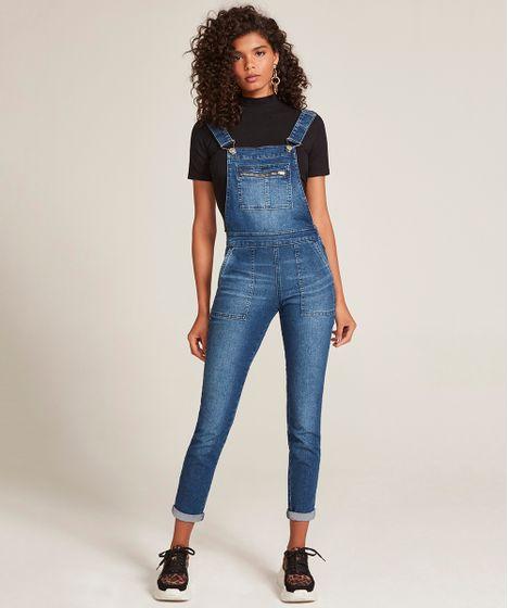 bbfcff76f7 Macacão Jeans Feminino Skinny com Bolsos Azul Médio - cea