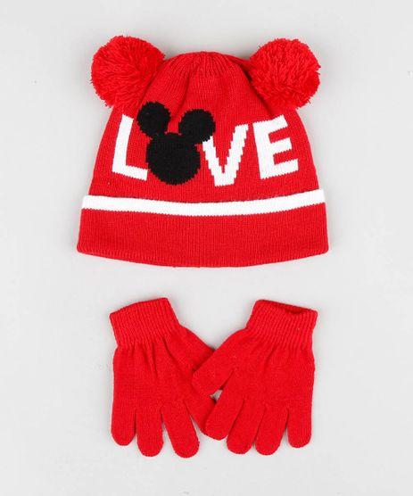 Kit-de-Gorro-Infantil-Mickey-com-Pompom---Luva-em-Trico-Vermelho-9361526-Vermelho_1