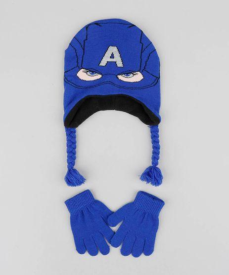 Kit-de-Gorro-Infantil-Capitao-America---Luvas-em-Trico-Azul-Royal-9361018-Azul_Royal_1