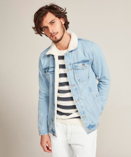 ad951e9312 Menor preço em Jaqueta Jeans Masculina Trucker com Pelo Azul Claro