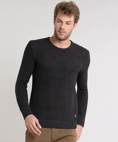 Sueter-Masculino-Slim-Fit-Mescla-Texturizado-em-Trico-Preto-9359030-Preto_1