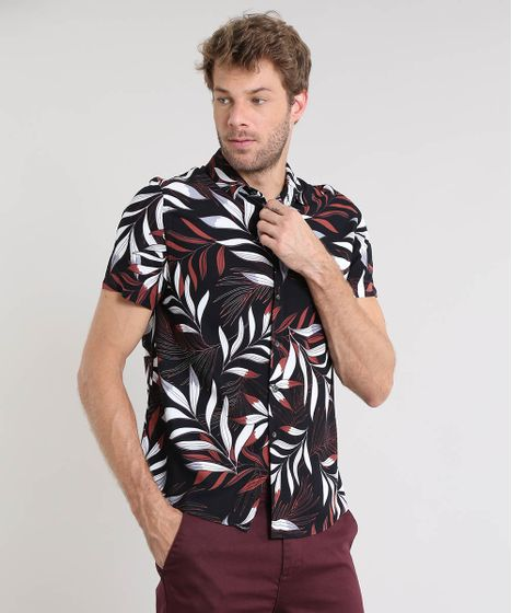 3b717dfe1a Camisa Masculina Estampada de Folhagem Manga Curta Preta - cea