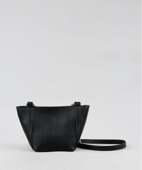e3b7e3b46 Bolsa Feminina Transversal Pequena Alça com Corrente Preta - cea