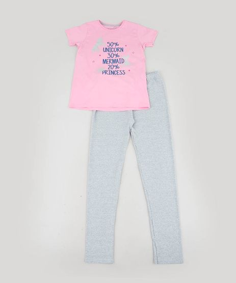 Pijama-Infantil--Unicorn-Mermaid-Princess--Manga-Curta-Rosa-9476365-Rosa_1