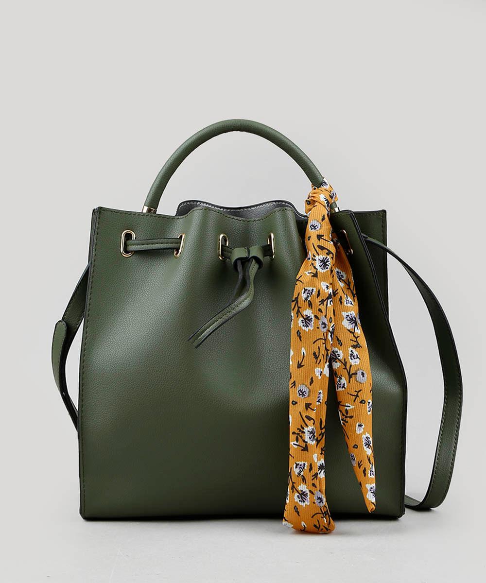 Bolsa Feminina Bucket Média com Lenço Estampado Floral Verde ...