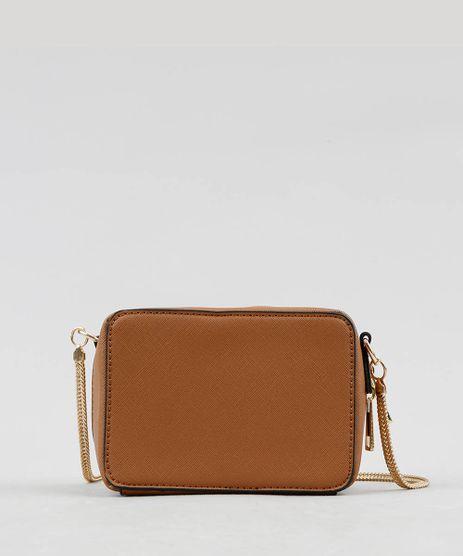 Bolsa-Feminina-Transversal-Pequena-com-Alca-Corrente--Caramelo-9227650-Caramelo_1