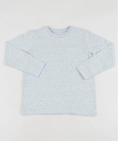 de66300332 Camiseta Infantil Básica com Bolso Manga Longa Gola Careca Cinza ...