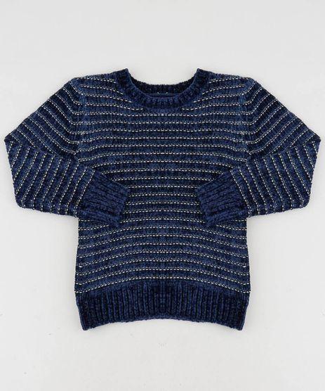 Sueter-Infantil-em-Trico-de-Chenille-com-Lurex-Azul-Marinho-9347621-Azul_Marinho_1