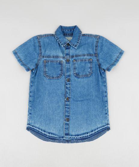 Camisa-Jeans-Infantil-com-Bolsos-Manga-Curta-Azul-Medio-9460121-Azul_Medio_1