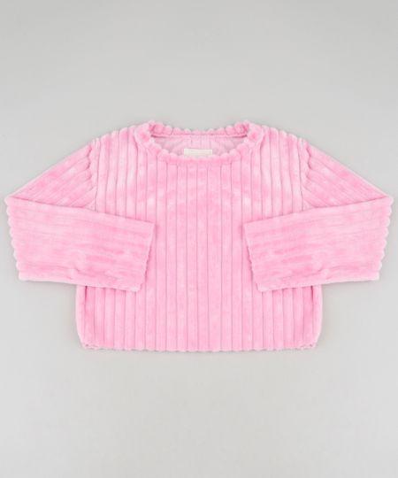 0dafad3bb Blusão Infantil Cropped Canelado em Plush Preto | Menor preço com cupom