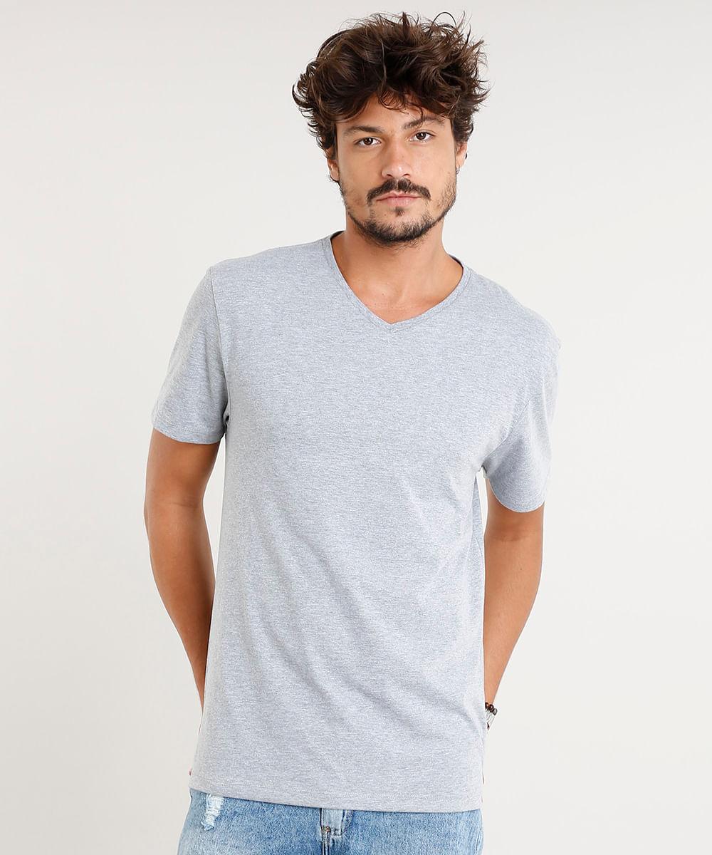 93fe81fbd Camiseta Masculina Básica Manga Curta Gola V Cinza Mescla - cea