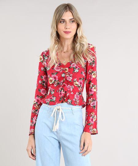 f484e6d25 Menor preço em Blusa Feminina Cropped Estampada Floral com Franzido Manga  Longa Decote V Vermelha