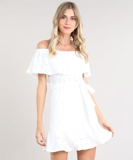 33d6020627 Vestido Feminino Ciganinha Curto em Laise com Faixa para Amarrar Off White