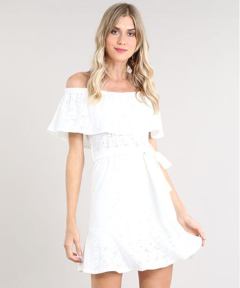 9c717406b8 Vestido Feminino Ciganinha Curto em Laise com Faixa para Amarrar Off ...