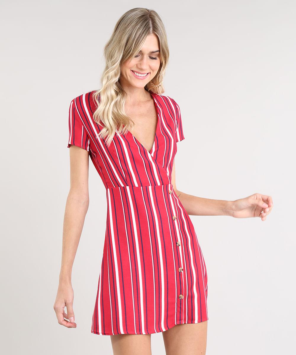 Vestido Feminino Curto Transpassado Listrado com Botões Manga Curta Vermelho