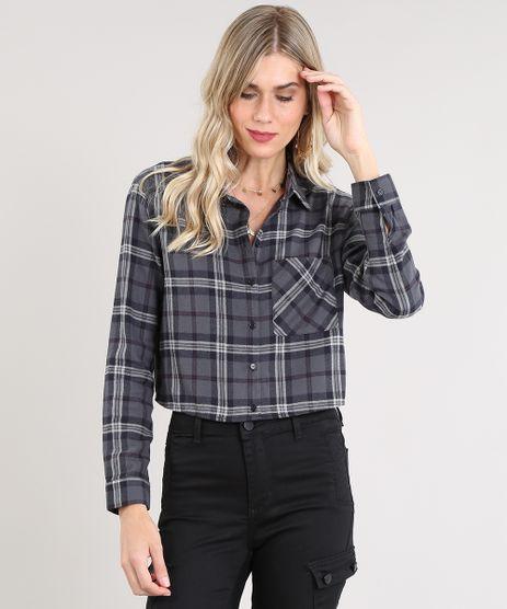 Camisa-Feminina-Cropped-em-Flanela-Estampada-Xadrez-Manga-Longa-Chumbo-9440464-Chumbo_1