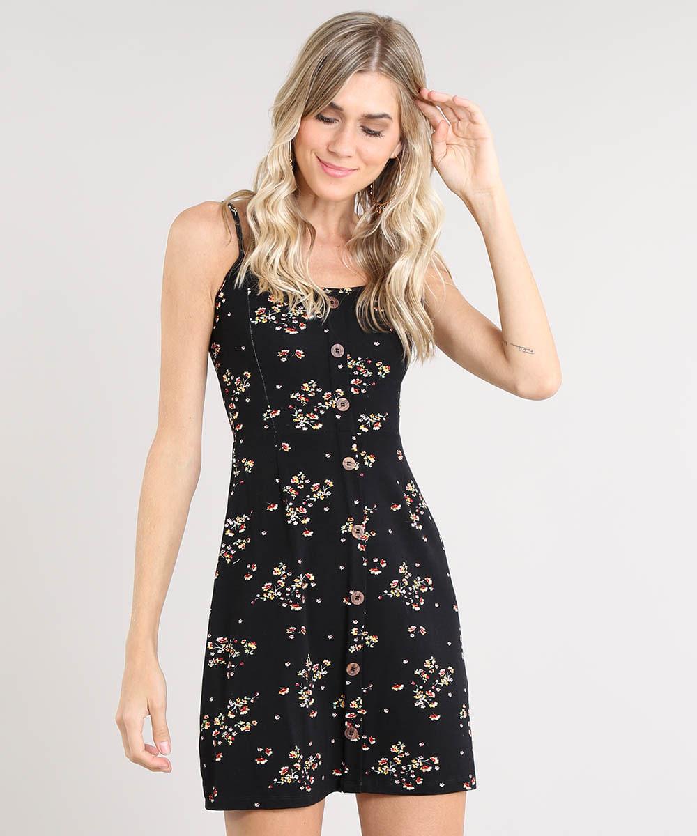 0b690cccfcbd Vestido Feminino Curto Estampado Floral com Botões Alça Fina Preto - cea