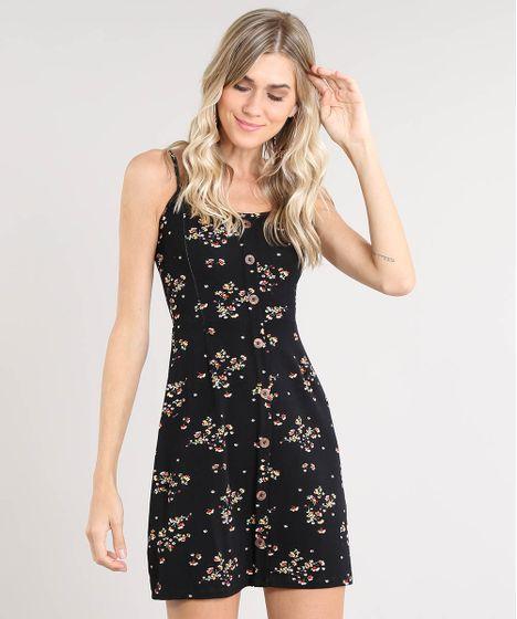 61d80043f Vestido Feminino Curto Estampado Floral com Botões Alça Fina Preto - cea
