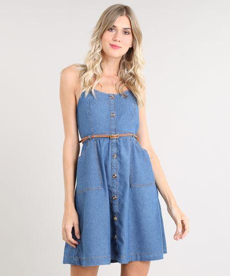 Vestido-Jeans-Feminino-Curto-com-Botoes-e-Cinto-Alca-Fina-Azul-Medio-9539071-Azul_Medio_1