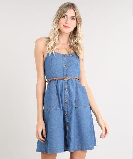 ff26c0d886c7 Vestido Jeans Feminino Curto com Botões e Cinto Alça Fina Azul Médio