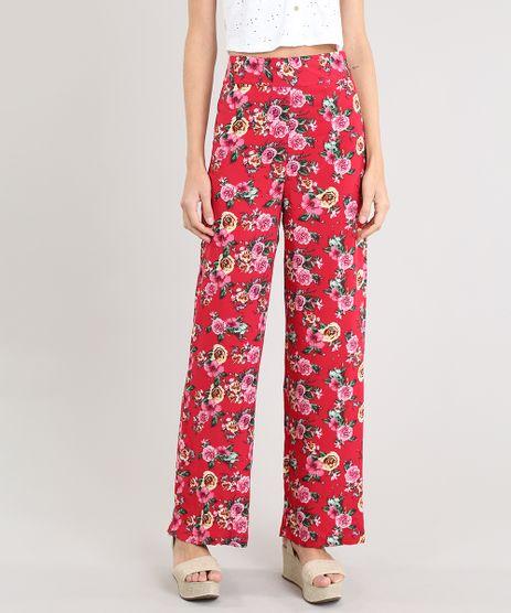 Calca-Pantalona-Feminina-Estampada-Floral-Vermelha-9461509-Vermelho_1