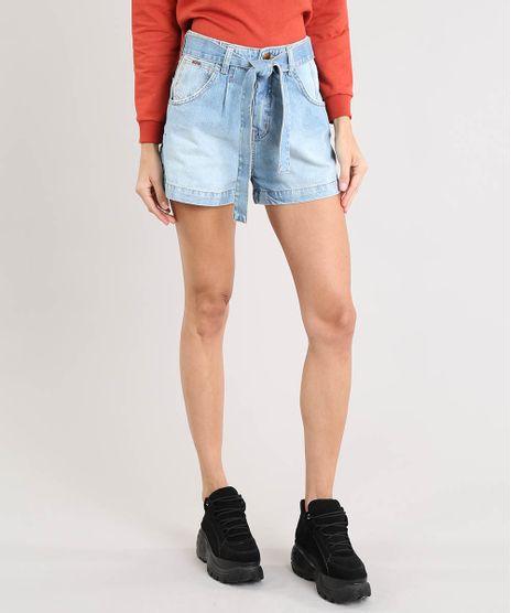 Short-Jeans-Feminino-Mom-Clochard-com-Faixa-para-Amarrar-Azul-Claro-9532114-Azul_Claro_1