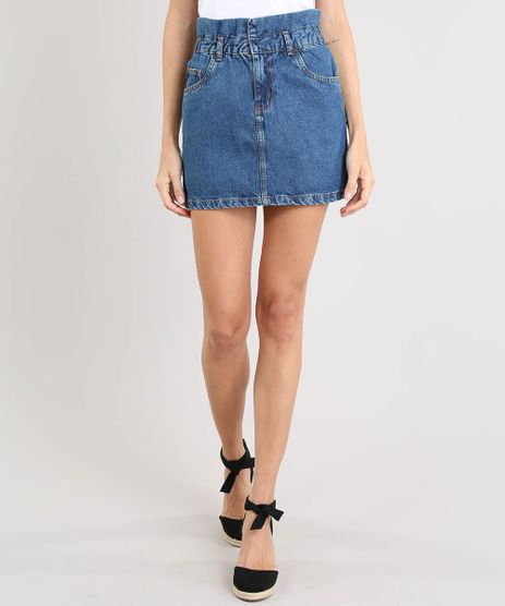 125f06fe6 Saia-Jeans-Feminina-Curta-com-Babado-Azul-Medio-