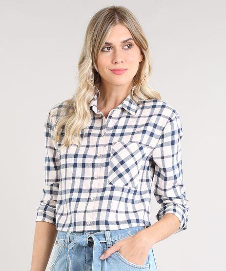Camisa-Feminina-Cropped-em-Flanela-Estampada-Xadrez-Manga-Longa-Rose-9440464-Rose_1