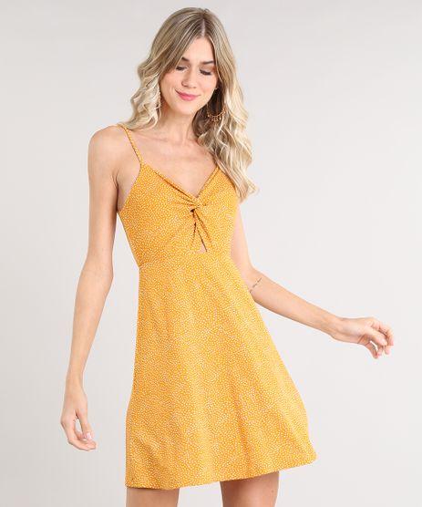Vestido-Feminino-Curto-Evase-Estampado-de-Poa-com-No-Alca-Fina-Mostarda-9503974-Mostarda_1