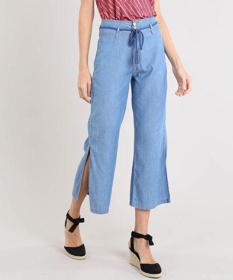 Calca-Jeans-Feminina-Pantacourt-com-Fenda-e-Cordao-Azul-Medio-9532109-Azul_Medio_1