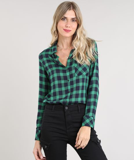 Camisa-Feminina-Estampada-Xadrez-com-Bolso-Manga-Longa-Verde-9364255-Verde_1