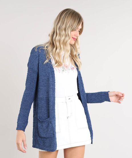 Capa-Feminina-em-Trico-Texturizado-com-Bolsos-Azul-9345840-Azul_1