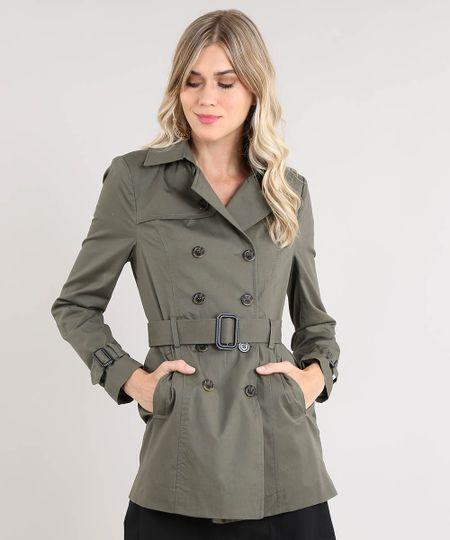 b2b1bfaa3 Menor preço em Casaco Trench Coat Feminino Transpassado com Bolsos e Cinto  Verde Militar