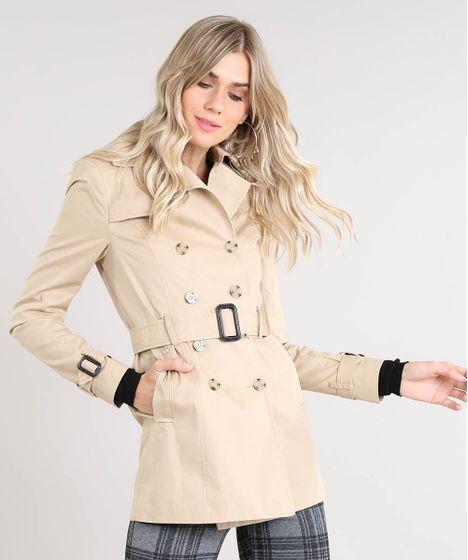 8e7d840fc4 Casaco Trench Coat Feminino Transpassado com Bolsos e Cinto Bege - cea
