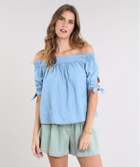 a0ae44031 Blusa Jeans Feminina Ombro a Ombro Manga Curta Azul Claro - cea