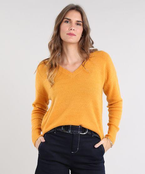 Sueter-Feminino-Amplo-em-Trico-Decote-V-Mostarda-9360888-Mostarda_1