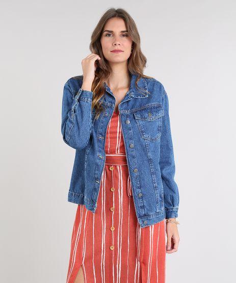 Jaqueta-Jeans-Feminina-Longa-com-Bolsos-Azul-Medio-9532123-Azul_Medio_1