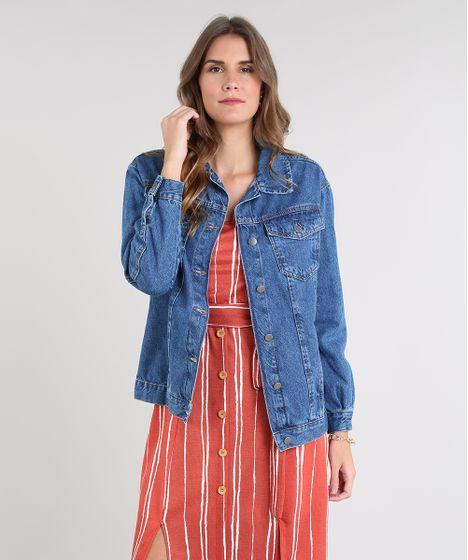 baa437cab Jaqueta Jeans Feminina Longa com Bolsos Azul Médio - cea