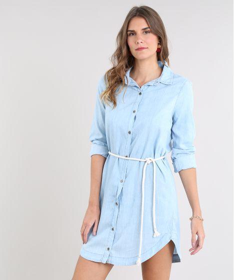 dfe942f75 Chemise Jeans Feminino com Cordão Manga Longa Azul Claro - cea