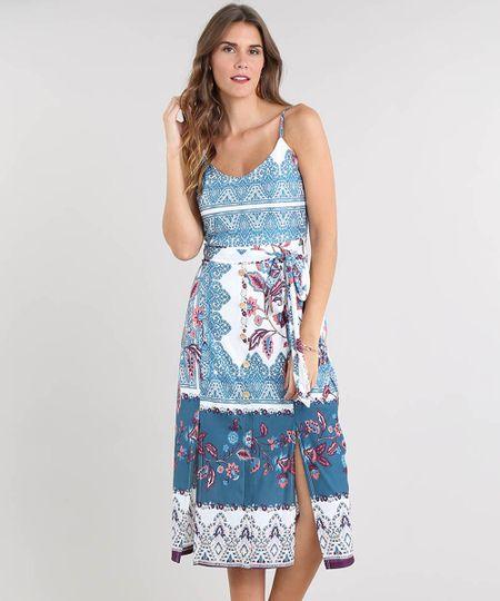 44974de409 Vestido Feminino Midi Estampado de Arabesco com Botões e Fenda Alça Fina  Off White