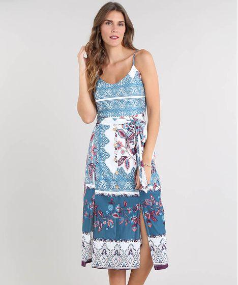 0911b2dcd5 Vestido Feminino Midi Estampado de Arabesco com Botões e Fenda Alça ...