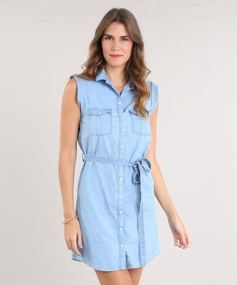 Vestido-Jeans-Feminino-Curto-com-Bolsos-e-Faixa-para-Amarrar-Sem-Manga-Azul-Claro-9532121-Azul_Claro_1