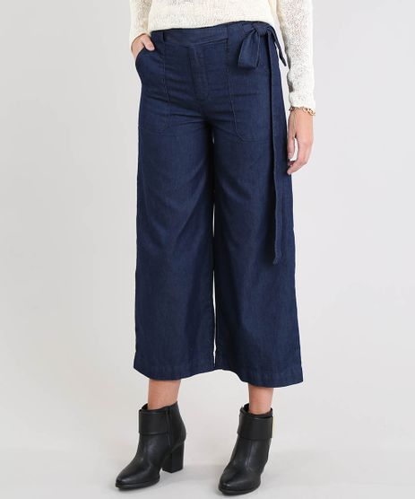 Calca-Jeans-Pantacourt-Feminina-com-Bolsos-e-Faixa-para-Amarrar-Azul-Escuro-9539075-Azul_Escuro_1